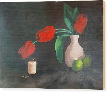 Tulips Limes And Candle Wood Print by Becky Chappell