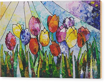 Tulips On Parade Wood Print by Sally Trace
