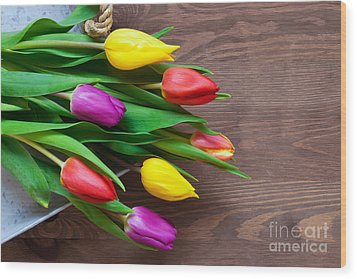 Tulips On The Table Wood Print by Richard Thomas