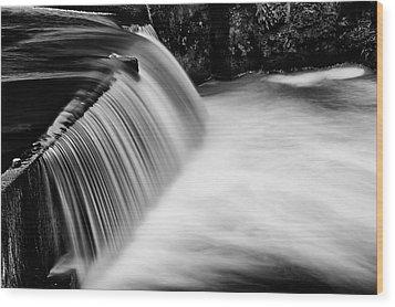 Tumwater Falls In Bw Wood Print