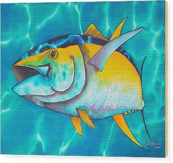 Tuna Wood Print by Daniel Jean-Baptiste