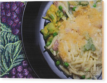 Tuna Noodle Casserole Wood Print by Andee Design