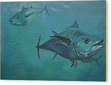 Tuna School Wood Print by Terry Gill