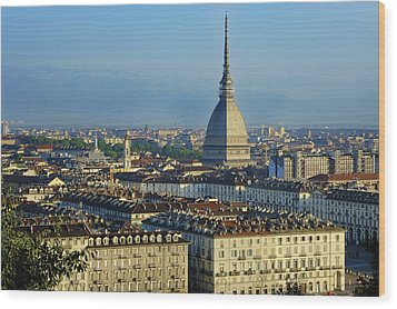 Turin, Cityscape With The Mole Antonelliana Wood Print by Bruno Morandi