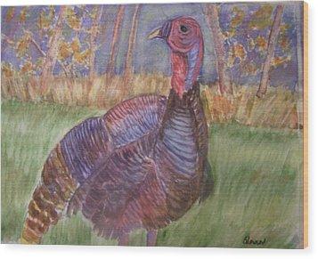 Turkey Call Wood Print by Belinda Lawson