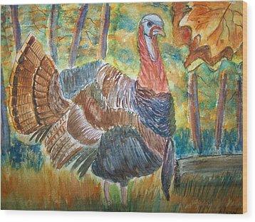 Turkey In Fall Wood Print by Belinda Lawson