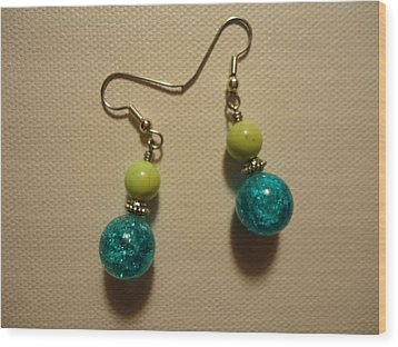 Turquoise And Apple Drop Earrings Wood Print by Jenna Green