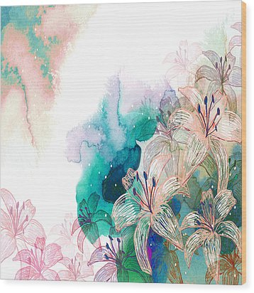 Turquoise Lilies Wood Print by Carly Ralph