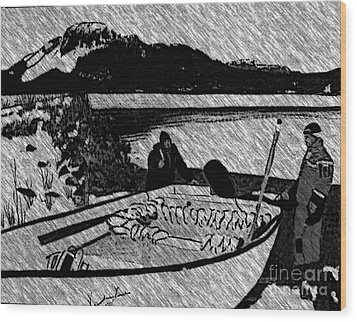 Turr Hunt Sketch Wood Print by Barbara Griffin