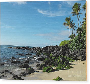 Turtle Beach Oahu Hawaii Wood Print