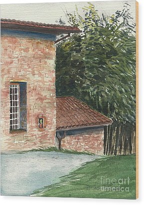 Wood Print featuring the painting Tuscan Brick And Bamboo by Joan Hartenstein
