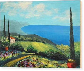 Tuscan Coastline Wood Print