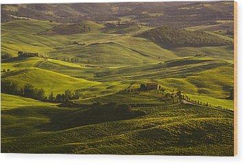 Tuscan Hills Wood Print by Andrew Soundarajan