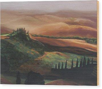 Tuscan Hills Wood Print by Elise Okrend