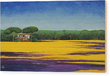 Tuscan Landcape Wood Print by Trevor Neal