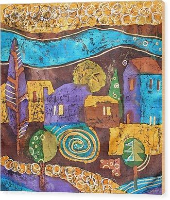 Tuscan Landscape Wood Print by Sandra Kern