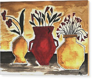 Tuscan Pottery With Flowers Ll Wood Print by Marsha Heiken