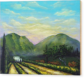 Wood Print featuring the painting Tuscany Light by Larry Cirigliano