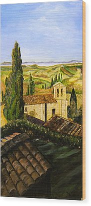 Tuscany Ll Wood Print by Maureen Pisano