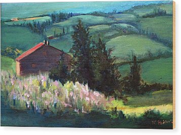 Wood Print featuring the painting Tuscany by Rosemarie Hakim