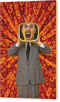 Tv Man Wood Print by Garry Gay