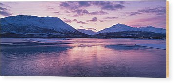 Twilight Above A Fjord In Norway With Beautifully Colors Wood Print by U Schade