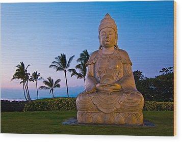 Twilight Buddha Wood Print by Adam Pender