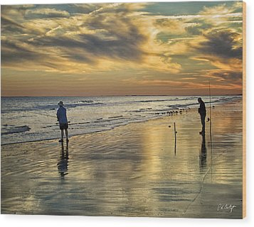 Twilight Fishing Wood Print by Phill Doherty