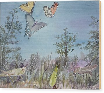 Twilight In The Garden Wood Print by Dorothy Herron