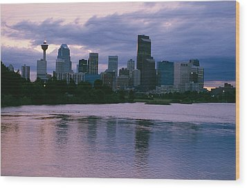 Twilight On The Bow River And Calgary Wood Print by Michael S. Lewis