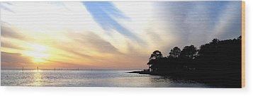 Twilight On The Gulf Wood Print by Judy Hall-Folde
