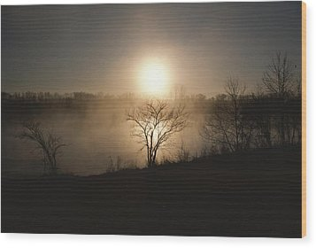 Twilight View Of Fog Over The Tennessee Wood Print by Sam Abell