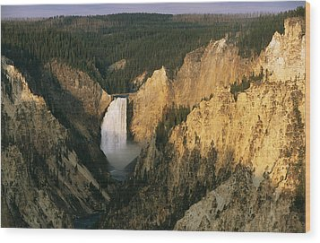 Twilight View Of Lower Yellowstone Wood Print by Michael S. Lewis