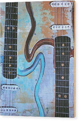 Wood Print featuring the painting Twin Guitars by Mary Kay Holladay