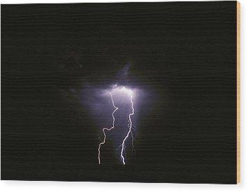 Twin Lightening Forks Slam Into A Salt Wood Print by Jason Edwards