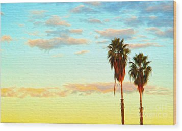 Twin Palms Wood Print by Gregory Dyer