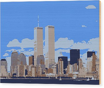 Twin Towers Color 6 Wood Print by Scott Kelley