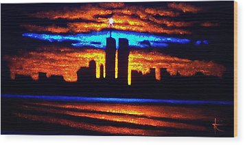 Twin Towers In Black Light Wood Print by Thomas Kolendra