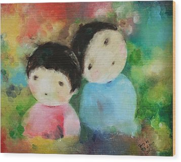 Wood Print featuring the painting Twins 1 by Becky Kim