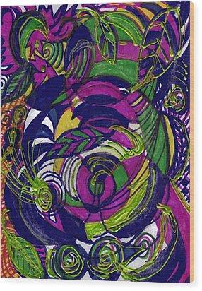 Twirls And Swirls Wood Print by Anne-Elizabeth Whiteway