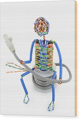 Twisted Man From A Computer Cable Wood Print by Aleksandr Volkov