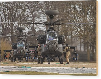 Two Ah64 Apaches Wood Print by Ken Brannen
