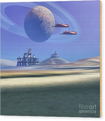 Two Aircraft Guard This Alien Planet Wood Print by Corey Ford