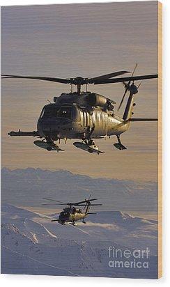 Two Alaska Air National Guard Hh-60g Wood Print by Stocktrek Images