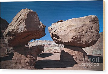 Wood Print featuring the photograph Two Balancing Boulders In The Desert by Karen Lee Ensley