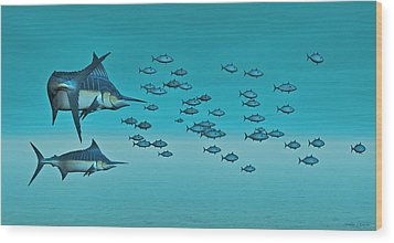 Wood Print featuring the digital art Two Blue Marlin by Walter Colvin