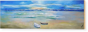 Two Boats Ashore  Wood Print by Gary Smith
