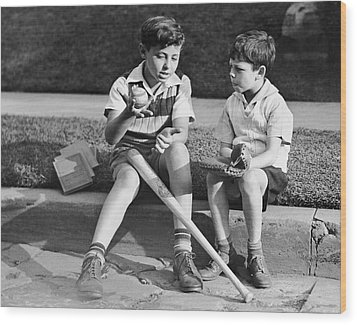 Two Boys Playing Baseball Wood Print by George Marks