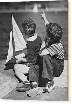 Two Boys Playing W/sailboats Wood Print by George Marks