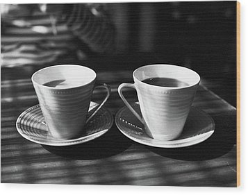 Two Cups Of Coffee In Sunlight Wood Print by Breeze.kaze